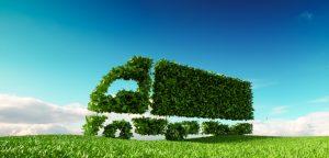 Alleen nog maar groene vrachtwagens